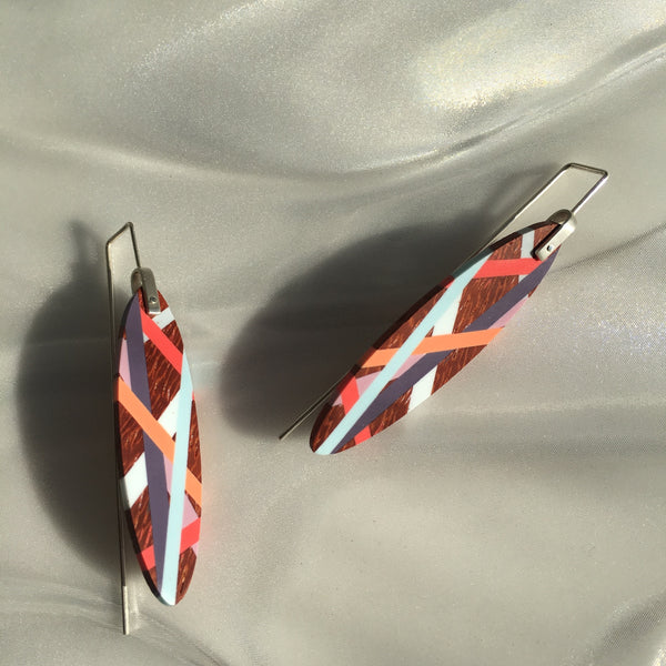 Laura Jaklitsch Jewelry Wood x Polyurethane coral purple aqua bird of paradise earrings summer beach style