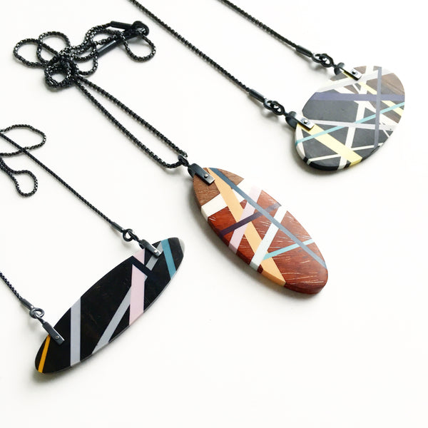 Laura Jakitsch Jewelry Wood and Polyurethane Hardware Necklaces