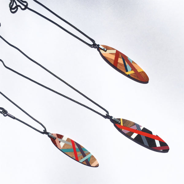Laura Jaklitsch Jewelry Wood x Polyurethane Pendant Necklaces