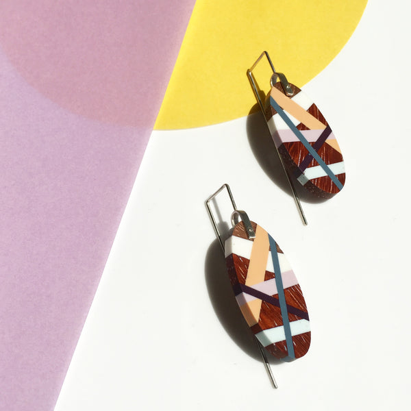 Wood x Polyurethane Ibiza Earrings with Colorblock Background Wood Jewelry by Laura Jaklitsch Jewelry