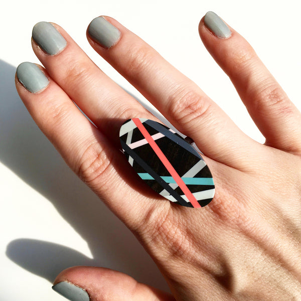 Wood Jewelry Ring in Ebony with Geometric Lines Resin Inlay Handmade by Laura Jakltisch Jewelry