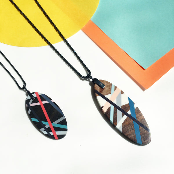 Wood Jewelry Necklaces, Oval Shape with Resin Inlay by Laura Jaklitsch Jewelry