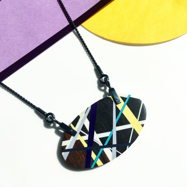Laura Jaklitsch Jewelry Wood x Polyurethane Blackwood Hardware Necklace in Purple, Yellow, Grey, and Teal