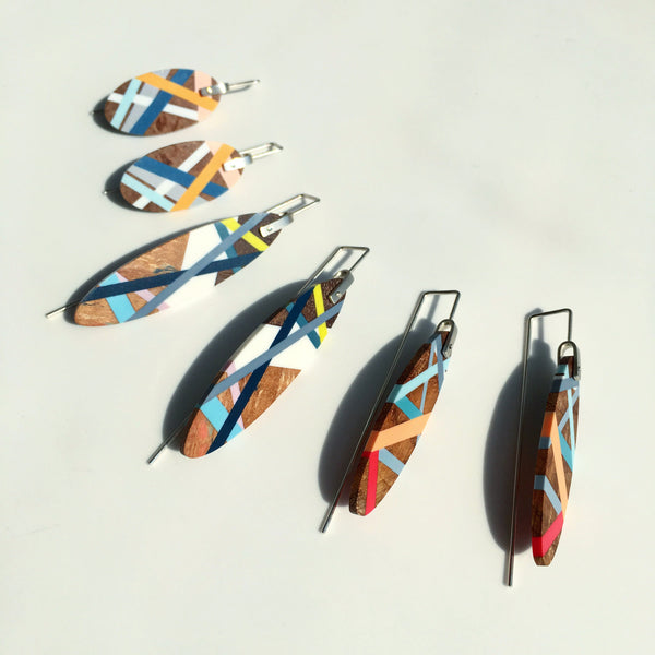 Wood Earrings with Colorful Inlay Surf Style