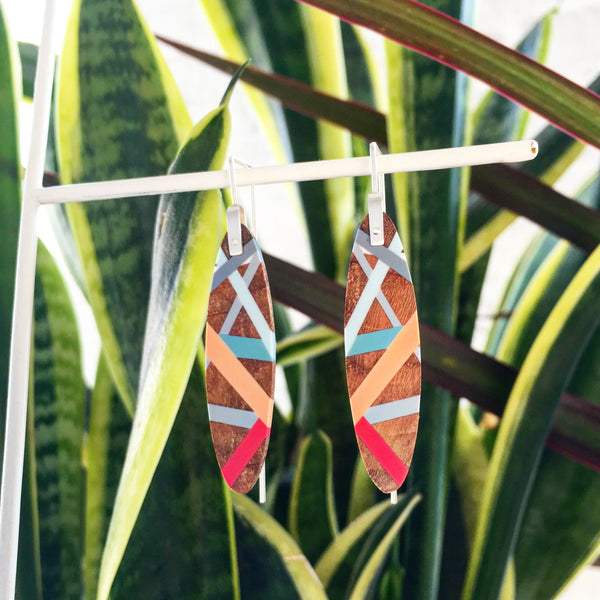 Laura Jakitsch Jewelry Wood and Polyurethane Island Earrings in coral, peach, and aqua