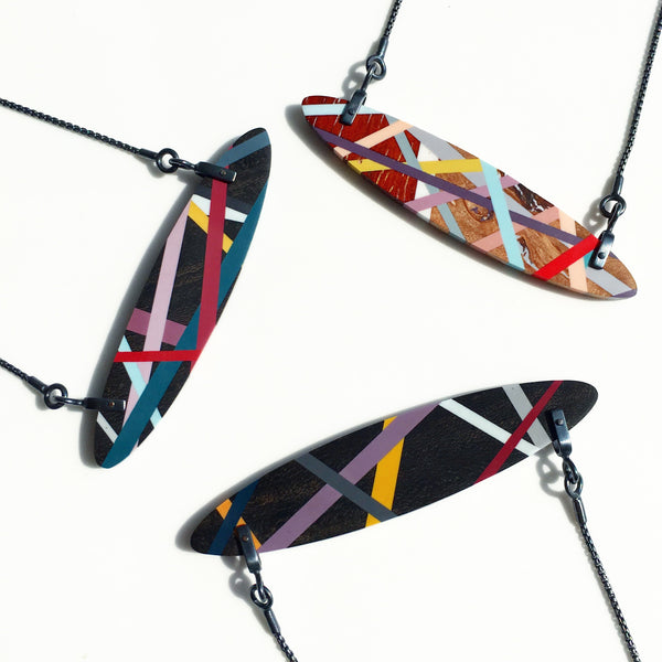 Black Jewelry Wood Necklaces with Resin Inlay