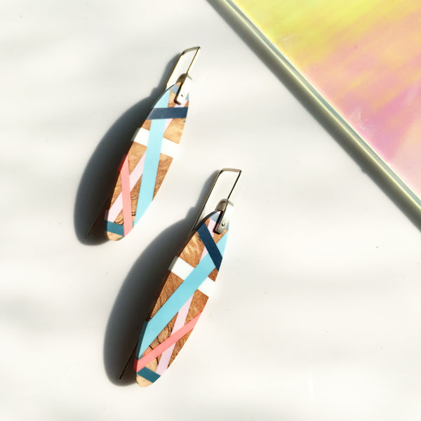 Laura Jaklitsch Jewelry Wood x Polyurethane Spalted Maple Aqua Coral Lilac Teal Earrings