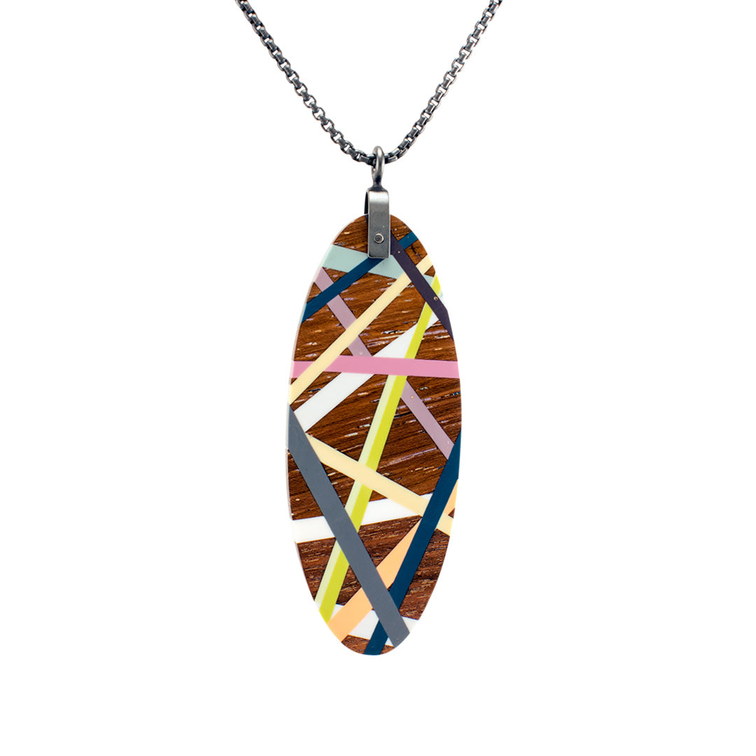 Oval Tab Necklace Wood Jewelry with Colorful Striped Inlay and Oxidized Sterling Silver Chain