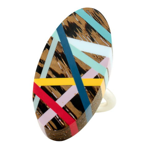 Laura Jaklitsch Jewelry Wood x Polyurethane Primary Wenge Red Blue Yellow Mauve Aqua Grey One of a Kind Ring