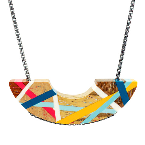 Blue Red and Yellow Crescent Wood Necklace
