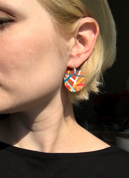 Red and Blue Fan Earrings