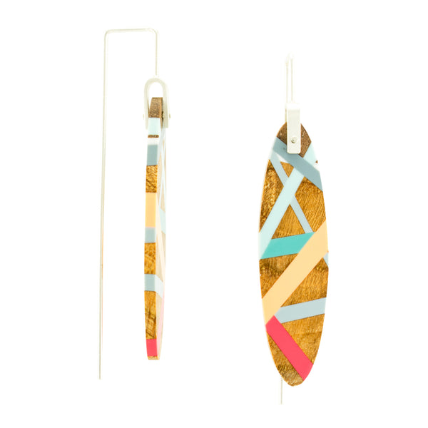 Laura Jaklitsch Jewelry Wood x Polyurethane Island Earrings Side View