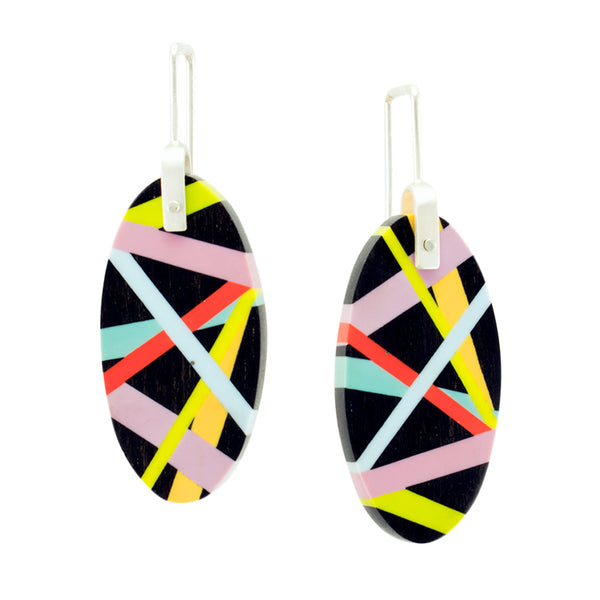 Black Wood Earrings with Neon Inlay and Sterling Silver