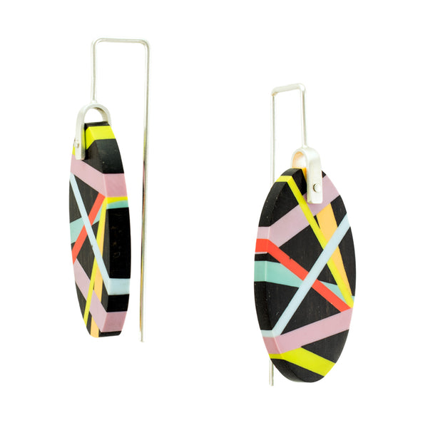 Handmade Asymmetrical Neon Black Earrings Side View