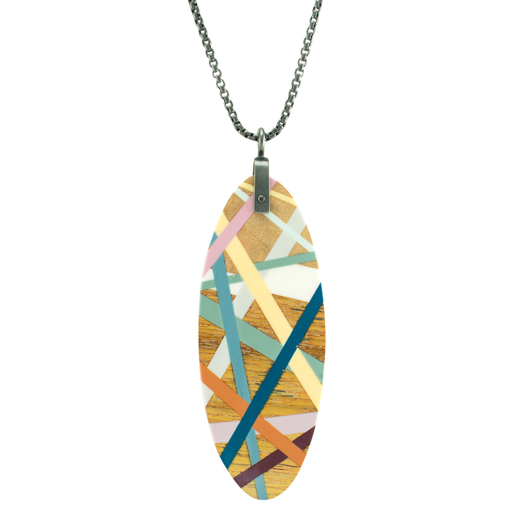 Large Oval Necklace Wood Inlay Jewelry with Oxidized Sterling Silver Chain by Laura Jaklitsch