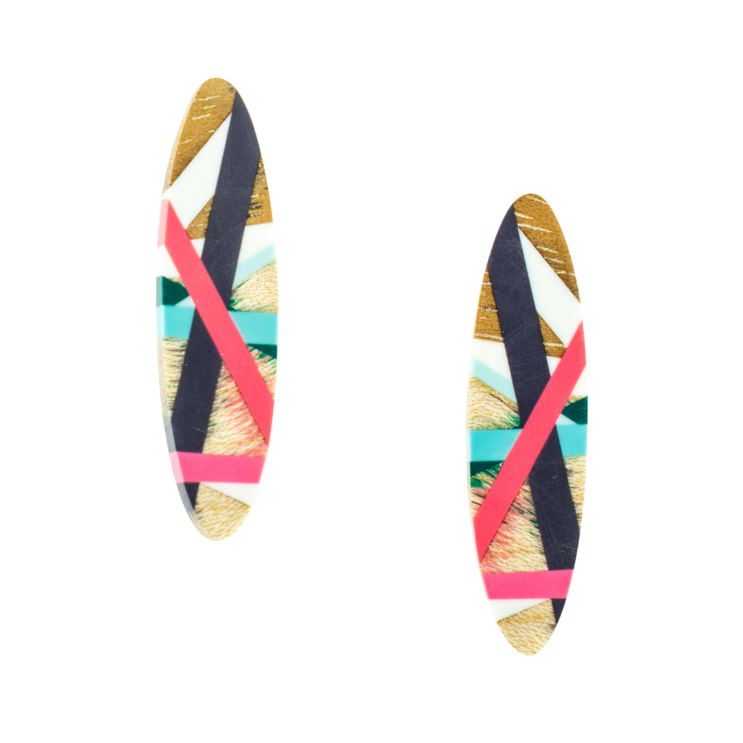 Laura Jaklitsch Jewelry Wood and Polyurethane Beach Vibes Post Earrings