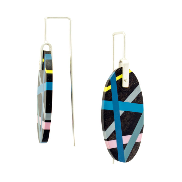 Ebony Earrings Wood with Resin Inlay Jewelry Side View