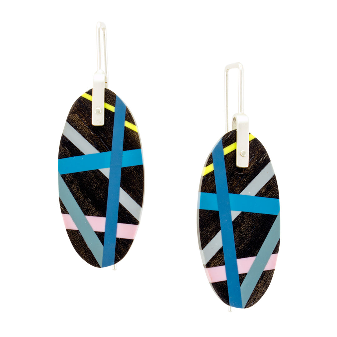 Classic Blue Jewelry Earrings with Black Ebony Wood and Polyurethane Resin Inlay and Sterling Silver Earwires by Laura Jaklitsch Jewelry
