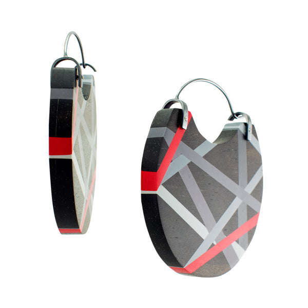 Black and Red Jewelry Hoop Earrings Side View