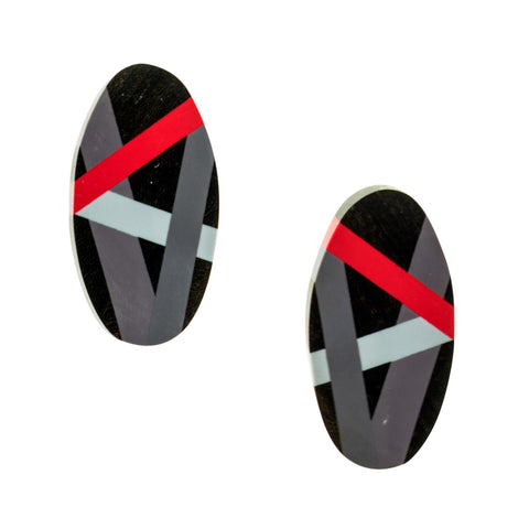 Black Wood Ebony Stud Earrings with Red and Grey Resin Inlay