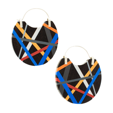 Laura Jaklitsch Jewelry Wood x Polyurethane Cobalt Blue Orange Red Ebony Hoop Earrings Handmade One of a Kind Statement Jewelry