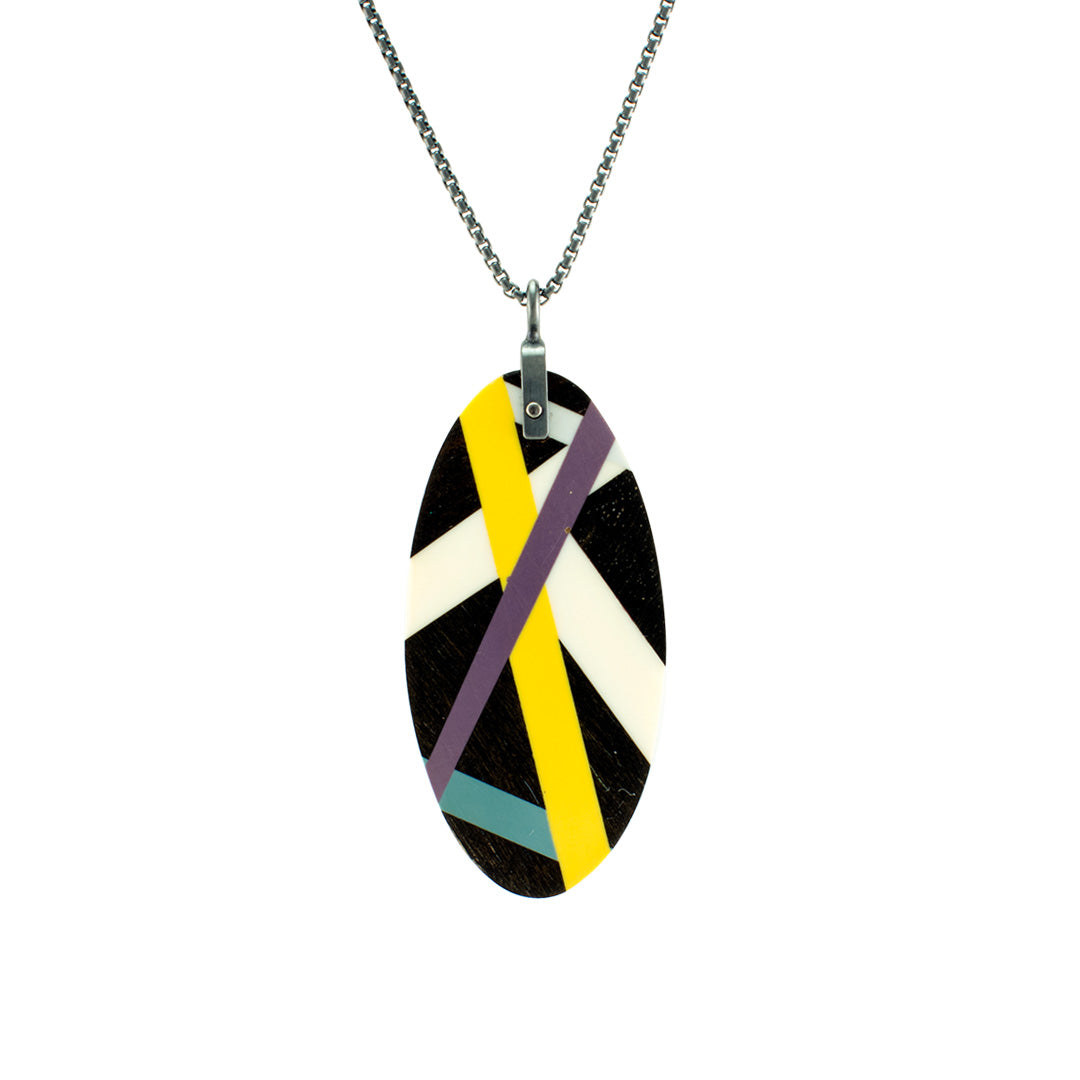 Black Jewelry Wood Inlay Necklace with Geometric Line Inlay Handmade by Laura Jaklitsch Jewelry