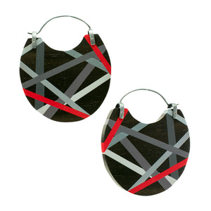 Big Earrings In Ebony Wood With Black Grey and Red with Oxidized Silver Ear Wires by Laura Jaklitsch Jewelry