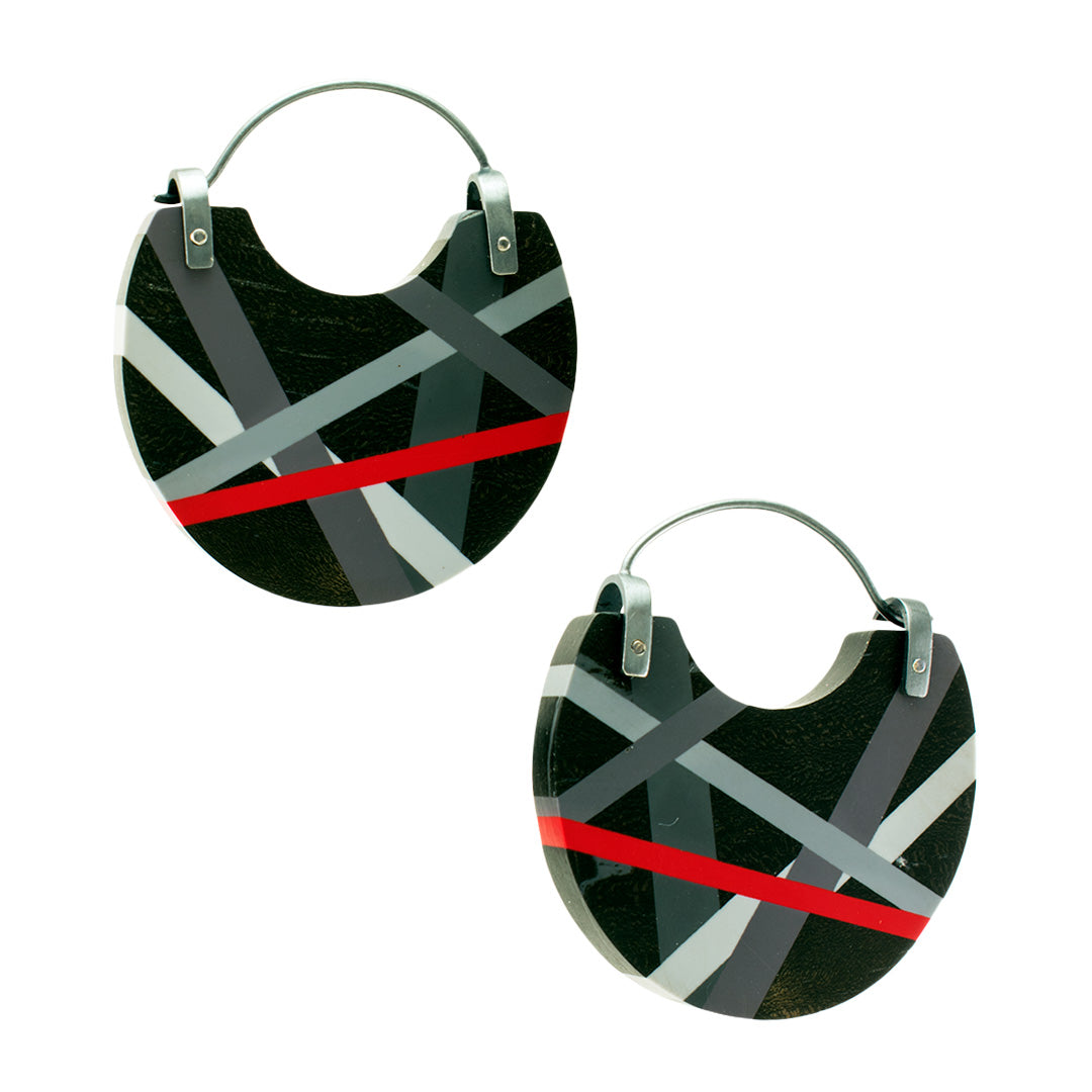 Wood Jewelry Ebony Hoop Earrings Oxidized Silver with Black Grey Red Inlay by Laura Jaklitsch Jewelry