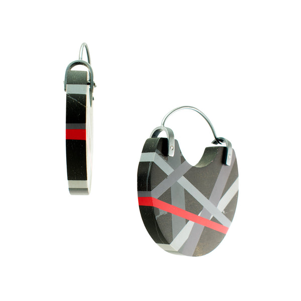 Ebony Wood Black Grey Red Small Hoops Side View