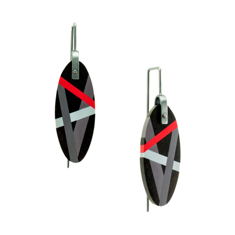 Ebony Earrings with Inlay in Red and Grey