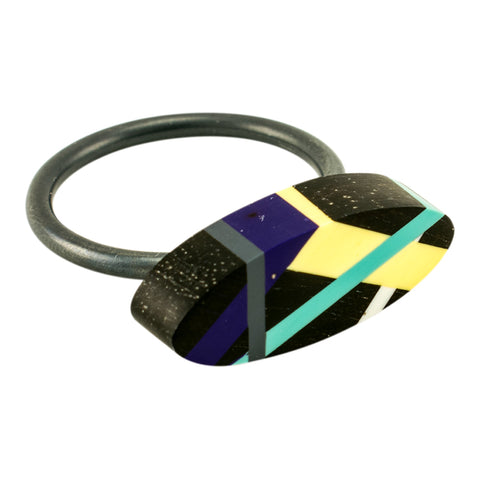 Stacking Black Wood Ring with Purple Yellow and Teal Resin