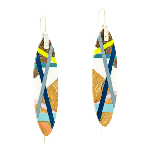 Laura Jaklitsch Jewelry Blue Lime Wood x Polyurethane Earrings