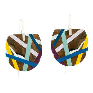 Lilac Sage Fan Wooden Earrings