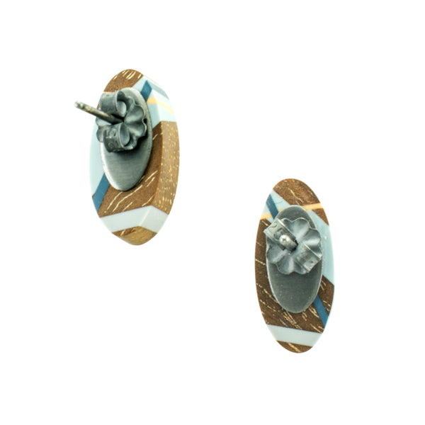 Laura Jaklitsch Jewelry Wood x Polyurethane Blue Walnut Stud Earrings