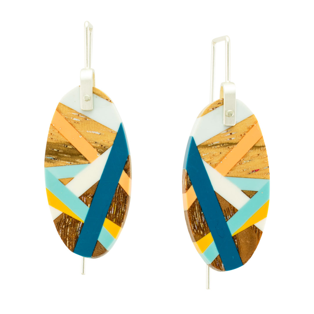 Wood Oval Earrings with Classic Blue, Orange, and Yellow Inlay by Laura Jaklitsch Jewelry