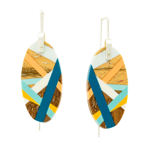 Wood Oval Earrings with Blue, Orange, and Yellow Inlay by Laura Jaklitsch Jewelry