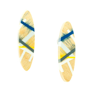 Post Earrings with Maple Wood and Polyurethane Resin Inlay in Navy, Yellow, and Grey Laura Jaklitsch Jewelry