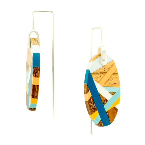 Laura Jaklitsch Jewelry Wood x Polyurethane Blue Orange Zebrawood Coastline Earrings Handmade One of a Kind Sterling Silver Sustainable Side View