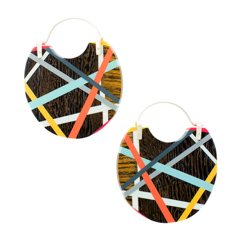 Big Earrings Wood Statement Hoops with Colorful Resin Inlay
