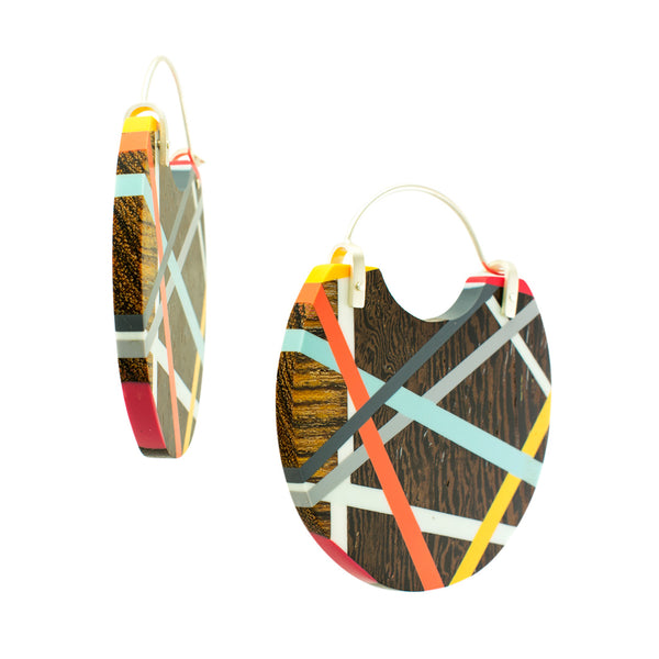Wood x Polyurethane Yellow Orange Blue Hoops Side View Handmade Jewelry