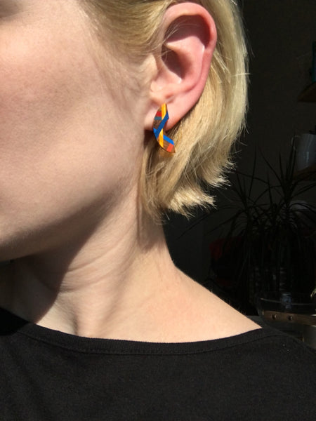 Blue and Orange Mini Crescent Stud Earrings