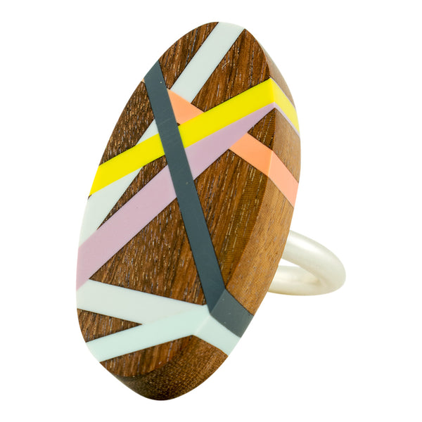 Wood Oval Cocktail Ring with Polyurethane Inlay in Citron and Purple With Ring Sterling Silver Band