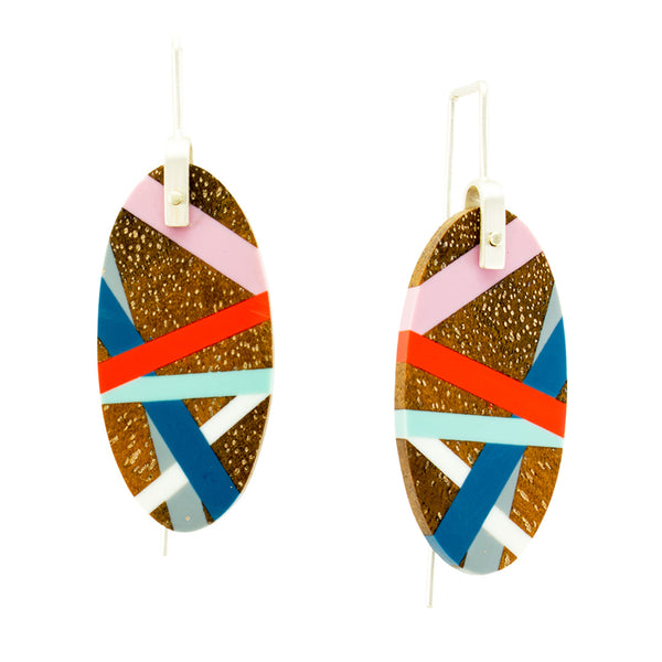 Oval Wood and Plastic Lightweight Earrings with Sterling Silver Ear Wires