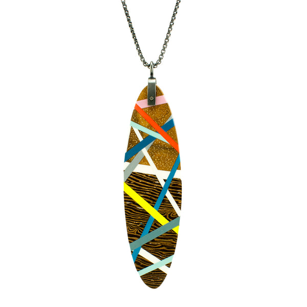 Elongated Oval Necklace Handmade with Wood, Polyurethane Resin, and Sterling Silver