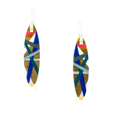 Laura Jaklitsch Jewelry Wood x Polyurethane Electric Coral Cobalt Earrings
