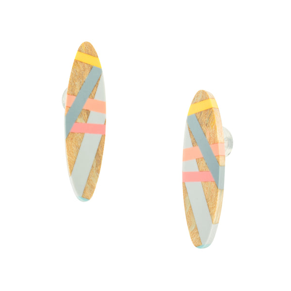 Living Coral Oval Wood and Resin Inlay Post Earrings