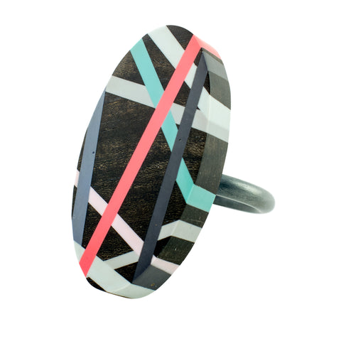 Black Oval Wood Jewelry Cocktail Ring with Polyurethane Resin Inlay by Laura Jaklitsch Jewelry
