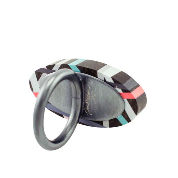 Laura Jaklitsch Jewelry Wood x Polyurethane Coral Pop Ebony Cocktail Ring  Back