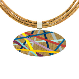 Wood Statement Necklace with Resin Inlay and Cork Cord Handmade by Laura Jaklitsch Jewelry