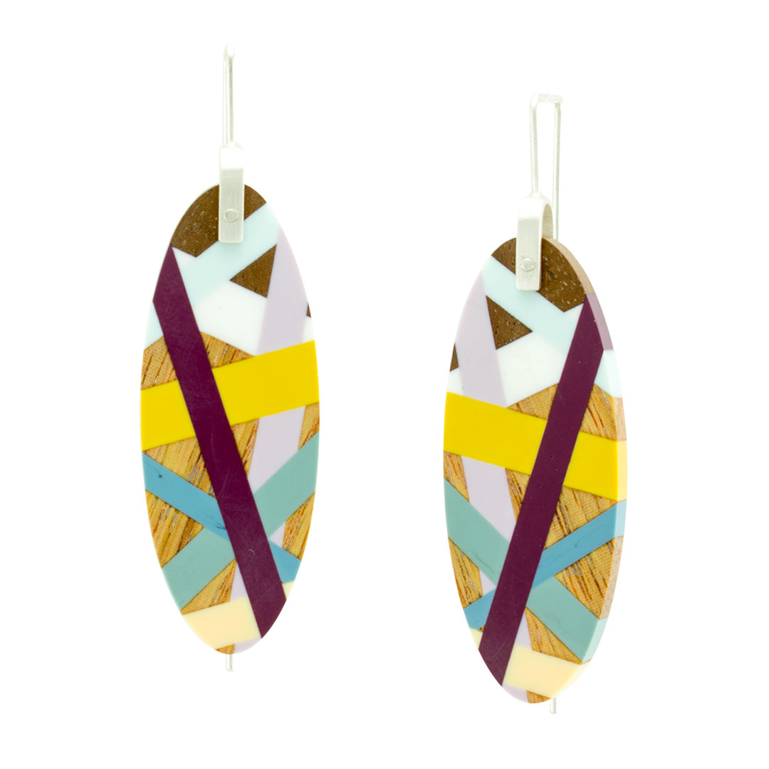 Desert Bloom Large Oval Earrings Handmade In Wood and Polyurethane Resin Inlay